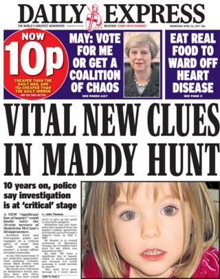 Daily Express front page - 26/04/17