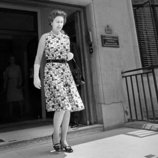 Queen Elizabeth II leaving the King Edward VII Hospital for Officers after visiting Princess Anne
