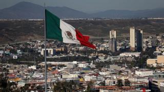 Flag at US Mexican Border