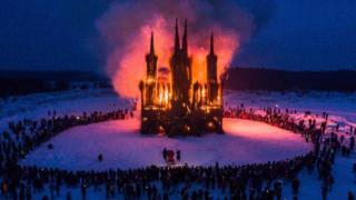 The Flaming Gothic art project marks the Maslenitsa holiday at the Nikola Lenivets art park, near Kaluga, on 17 February 2018.
