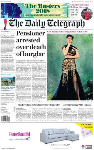 Telegraph front page 5th April