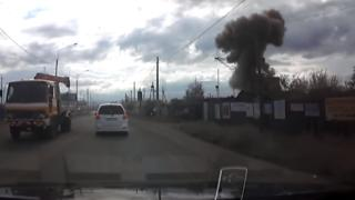 A motorist picked up the mushroom cloud explosion on their dashcam