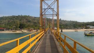 "The ""Yellow Bridge"" which connects Nusa Lembongan and Nusa Ceningan, two islands located east of the resort island of Bali, Indonesia is seen on 29 November 2015"