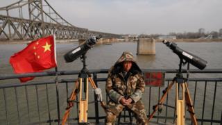 4月1日,中國丹東市靠近朝鮮邊境的一個旅遊點。