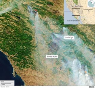 Nasa satellite image showing wildfires in California