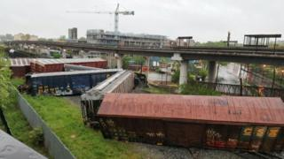 Overturned cars from CSX freight train in Washington DC