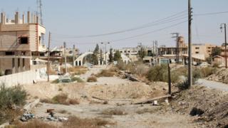 General view of Qaryatain on 22 October 2017 following its recapture by Syrian government forces