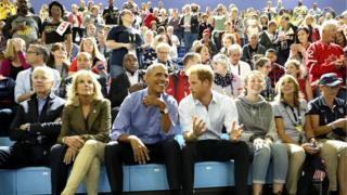 Barack Obama and Prince Harry watch the wheelchair basketball at the Invictus Games