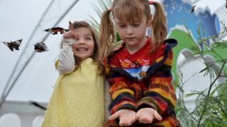 Dos niñas observan las mariposas en la sala de insectos vivos del Museo de Historia Natural de Londres.