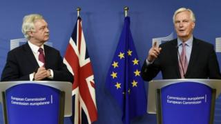 Brexit Secretary David Davis and Michel Barnier, the European Commission's chief negotiator