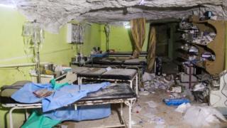 Han Şeyhun'da hastane enkazı