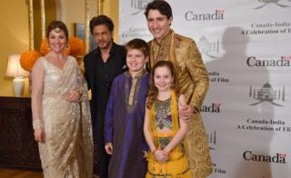 Canadian Prime Minister Justin Trudeau, his wife Sophie Grégoire, daughter, Ella-Grace, and son, Xavier James, pose for a photograph with Bollywood actor Shahrukh Khan in Mumbai on 20 February, 2018.