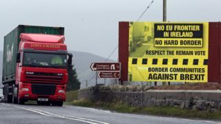 A lorry crosses the Irish border