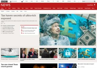 BBC News online front page 2017