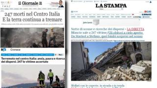 Italian newspaper front pages