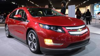 The Chevrolet Volt on display at the 2013 North American International Auto Show in Detroit