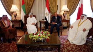 Главы МИД Саудовской Аравии, ОАЭ, Египта и Бахрейна
