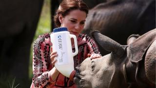 The Duchess of Cambridge feeds a baby rhino at the Panbari reserve forest in Kaziranga on 13 April 2016