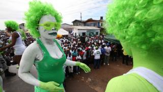 "Liberians paints their bodies during a Green rally to mark the official Launch of opposition Liberty Party (LP) Presidential candidate, Charles Walker Brumskine (not pictured) campaign, at the party headquarters in Monrovia, Liberia, 09 September 2017. The Presidential and General Elections are scheduled for 10 October 2017, and Liberians are to elect a new president to succeed incumbent President Ellen Johnson Sirleaf. The 2017 Presidential election is expected to be Liberia""s first peaceful transition of power from a democratically elected President to another after almost four decades."