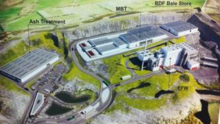 An artist's impression of the proposed waste facility at a quarry on the outskirts of north Belfast