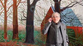 """British artist David Hockney stands by his oil painting """"Bigger Trees Near Warter"""""""