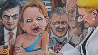 'Under scrutiny' by Julia Davis, a Bald Archy entrant depicting recent scandal-plagued politicians