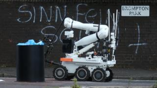 A robot at the scene of the security alert on the Crumlin Road