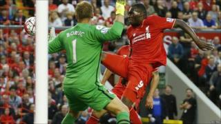 Christian Benteke scores for Liverpool against Bournemouth