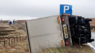 Lorries blown over on the Woodhead Pass (Jan 26)