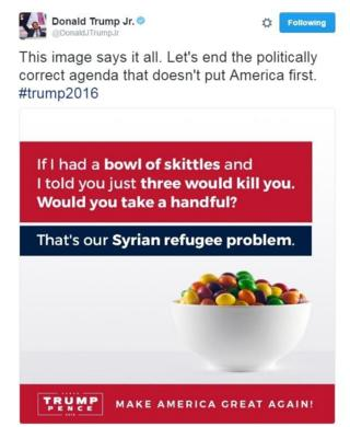 "Picture of a bowl of skittles. Accompanying text says: ""If I had a bowl of skittles and I told you just three would kill you, would you take a handful?''"