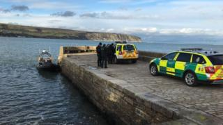The scene of the rescue at Swanage Bay