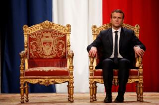 French President Emmanuel Macron takes part in an official ceremony at Paris' city hall after his formal inauguration as French president on 14 May 2017 in Paris.