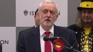 コービン党首は、有権者は「将来への希望に」投票したと語った