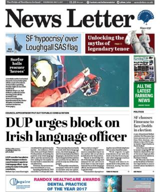 The front page of the News Letter on 3 May