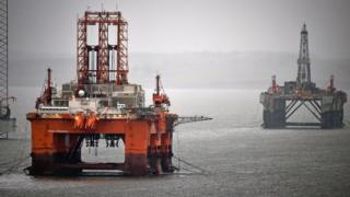 Oil rigs in the Cromarty Firth