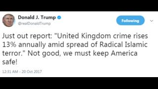 Anger over Donald Trump's UK crime tweet