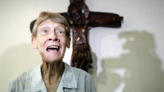 Australian nun Patricia Fox speaks to the media in Manila, Philippines, 26 April 2018.
