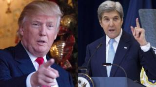 特朗普(左)發文支持以色列,克里(右)則是指責以色列阻礙中東和平。