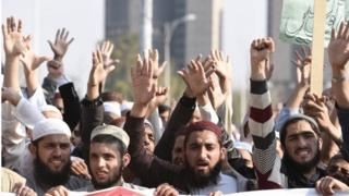 Students of Islamic seminaries shout slogans during a protest urging the authorities to block social media sites that are spreading blasphemous contents, in Islamabad, Pakistan, 08 March 2017.