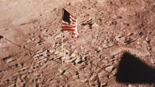 American flag on the surface of the Moon