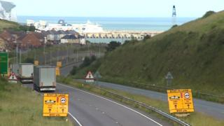 The A20 between Folkestone and Dover