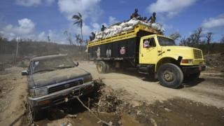 Truck carrying aid supplies
