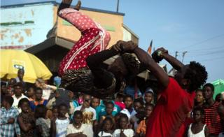 Artists performing at the Chale Wote festival in Accra, Ghana -Sunday 21 August 2016