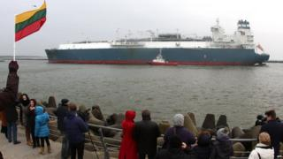 LNG ship arriving in Klaipeda, Lithuania