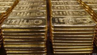 Gold bars on display
