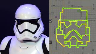 A Stormtrooper helmet next to a map