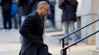 Baltimore Police officer Caesar Goodson arrives at the Mitchell Courthouse-West for jury selection in his trial January 11, 2016 in Baltimore, Maryland.