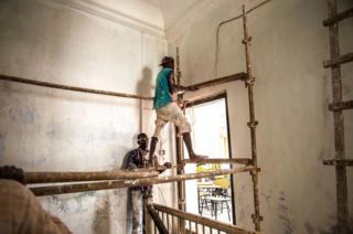 Inside a damaged building