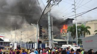 Fire in a shopping mall in Davao, southern Philippines