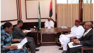 President Muhammadu Buhari meets with Finance Minister Kemi Adeosun and others